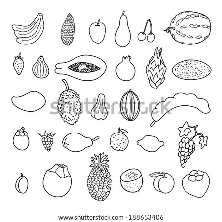 Tropical fruits. Hand drawn collection, vector illustration. Isolated on a white background. #188653406