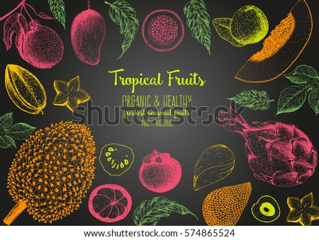 tropical fruits top view frame