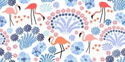 Tropical garden. Seamless vector pattern with flamingo and exotic flowers.