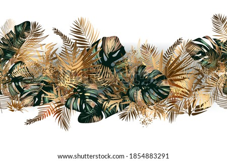 Tropical golden and emerald leaves seamless pattern border frame with vector image. Jungalow style. Botanical theme. Fabulous tropical wallpapers and backgrounds