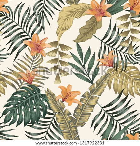 Tropical green and gold palm, banana leaves and orange lily flowers abstract colors seamless vector pattern on the white background