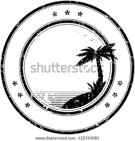 tropical grunge rubber stamp