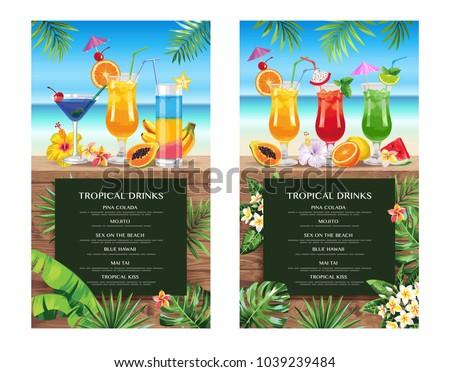 tropical hawaiian cocktail menu