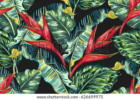 Tropical hawaiian flowers, palm leaves, jungle leaf, bird of paradise flower seamless vector floral pattern background