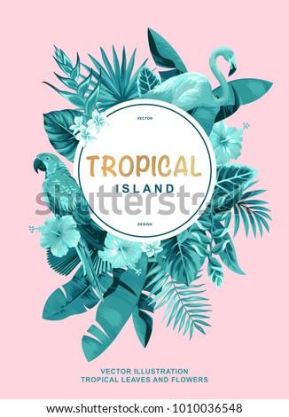 tropical hawaiian poster with