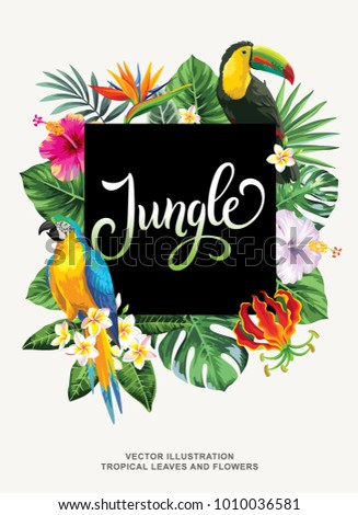 Tropical Hawaiian poster with birds, palm leaves and exotic flowers. Square frame. Vector illustration. #1010036581