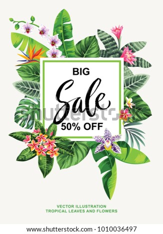 Tropical Hawaiian sale flyer with wild animals, birds, palm leaves and exotic flowers. Square frame. Vector illustration.