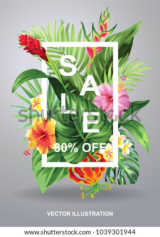 Tropical Hawaiian sale poster with palm leaves and exotic flowers. Square frame. Vector illustration.