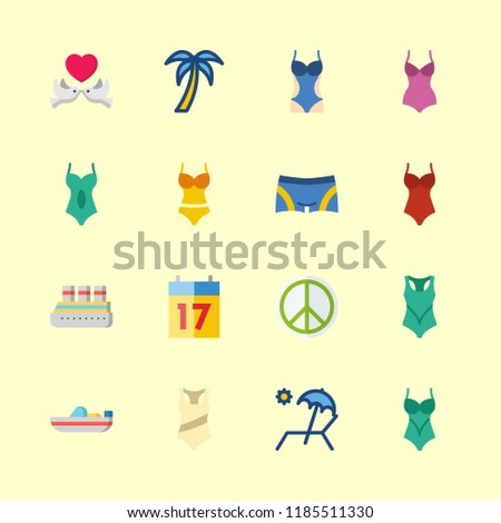 tropical icons set small
