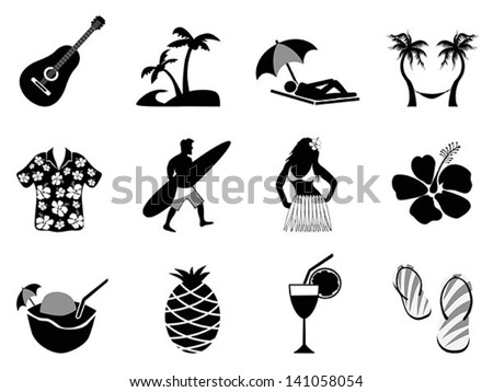 tropical island and beach vacation icons