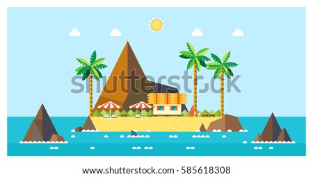tropical island bungalows on