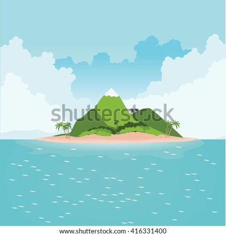 tropical island in ocean with