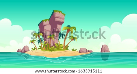 Tropical island in ocean with palm trees and rock. Vector cartoon illustration of summer sea landscape with paradise shore, sand beach and coconut palms. Exotic travel and vacation