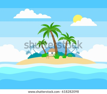 tropical island in the ocean