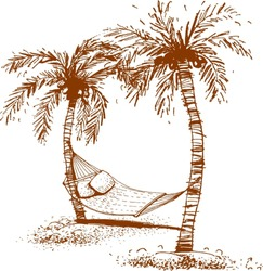 Tropical island, palm trees and hammock, vector illustration.