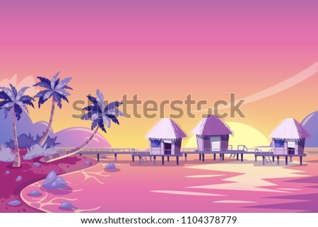 tropical island pink sunset
