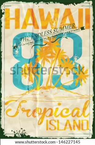 tropical island summer print