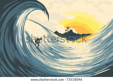 tropical island wave and surfer
