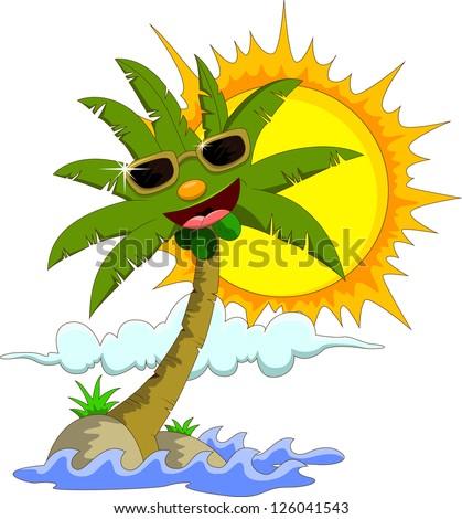 Tropical island with cartoon palm tree and sun