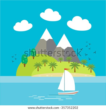 tropical island with montains
