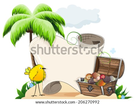 Tropical island with palm tree, tropical bird and treasure chest