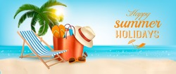Tropical island with palms, a beach chair and a ocean. Vacation vector banner.