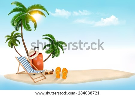tropical island with palms  a