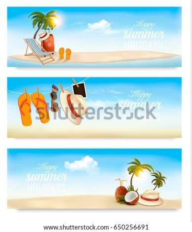 Tropical island with palms, a beach chair and a suitcase. Vacation vector banners. Vector.