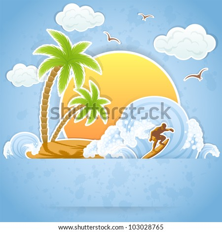 Tropical Island with palms and surfing on waves, illustration.