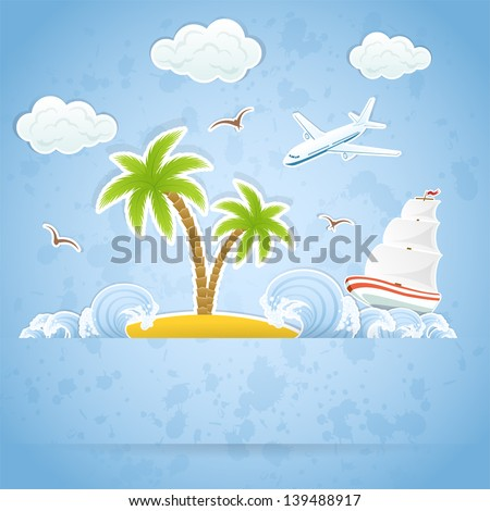 Tropical Island with palms and waves, flying airplane and ship, illustration.