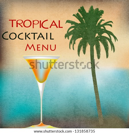 Tropical Isle Cocktails, vector template for an exotic drinks menu