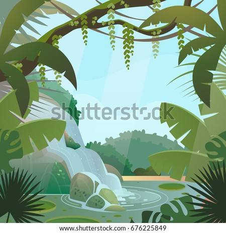 Tropical jungle landscape with waterfall and trees, rocks and sky. Green palm wood or forest with wild nature and bush foliage, waterfall stream or current at lake and shrubs. Rainforest flora theme