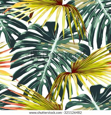tropical jungle leaves seamless