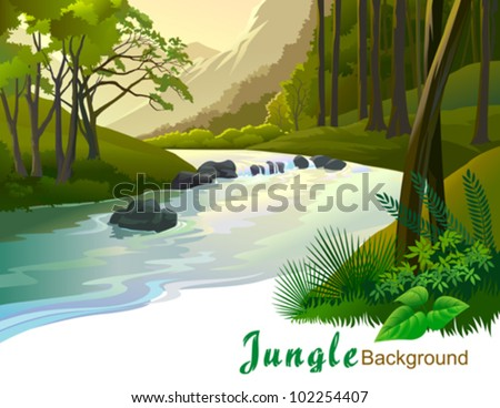 tropical jungle trees and fresh