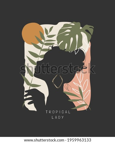 tropical lady slogan with girl shadow and tropical leafs vector illustration