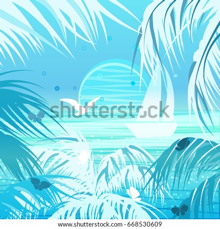 tropical landscape palms  sun
