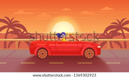 Tropical landscape. Poster. Woman riding a red cabriolet on the road to the sea at sunset.