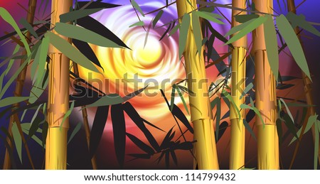 tropical landscape (tropical plants, bamboo, vector illustration)