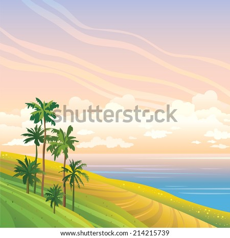 tropical landscape with coconut