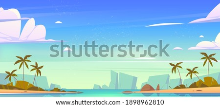 Tropical landscape with sea bay, sand beach, palm trees and mountains on horizon. Vector cartoon illustration of summer seascape with islands or shore of lagoon