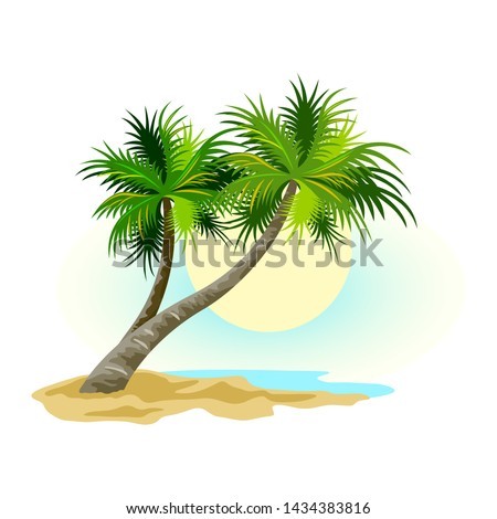 tropical landscape with sunny