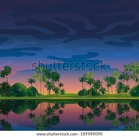 tropical landscape with sunset