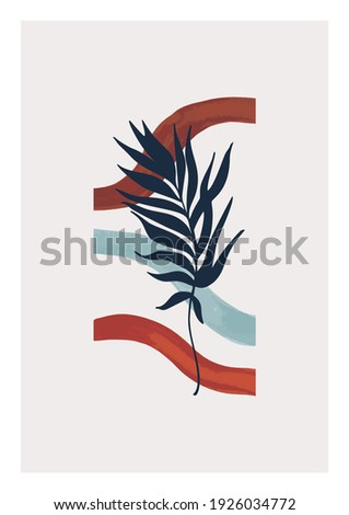 Tropical leaf and wavy stripes modern poster. Unusual summer sea beach concept. Hand painted watercolor lines and palm leaf silhouettes illustration. Vector minimal art