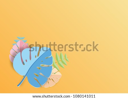 Tropical leaf  paper art graphic Background