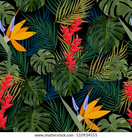 tropical leaves and flowers of