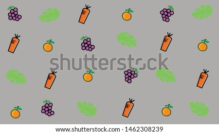 Tropical leaves and summer fruits vector is simple and simple