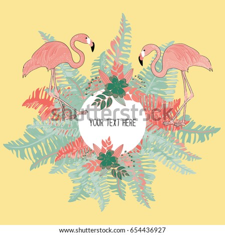 Tropical leaves circle with two flamingos. Place for your text. Vector illustration on yellow background