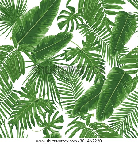 Tropical leaves, dense jungle. Seamless detailed, botanical pattern. Vector background.