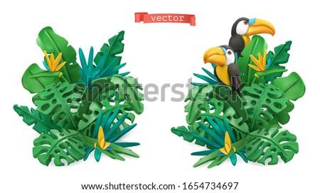 Tropical leaves design. Plasticine art illustration. 3d vector objects