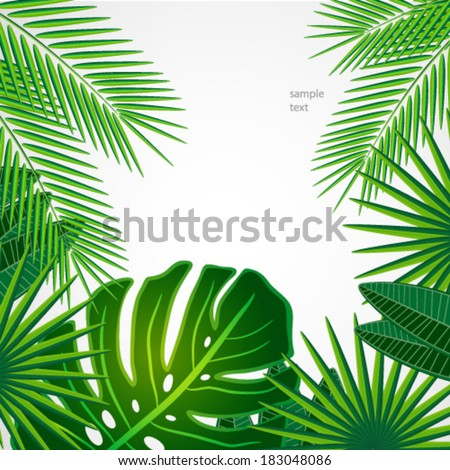 Tropical leaves Floral design background